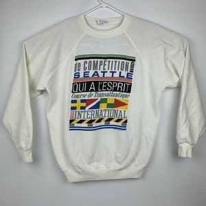 VTG 80's Qui A L'esprit Course Sweatshirt XL